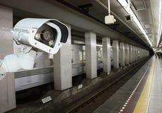 CCTV Camera security operating on subway station platform.underg. Round railways station Stock Image