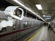 CCTV Camera security operating on subway station platform.underg Stock Photo