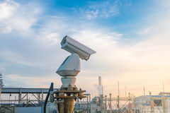 CCTV camera. Security CCTV camera system in factory Stock Photos
