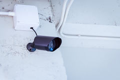 Cctv camera security on wall background in room Royalty Free Stock Images