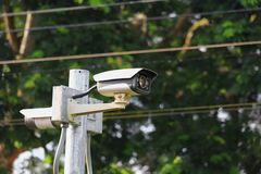 Cctv camera select focus with shallow depth of field. With copy space and text Stock Photography