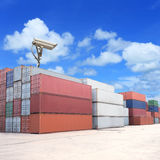 CCTV camera with shipping containers in port Stock Photography