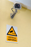 CCTV Camera and sign Stock Photography