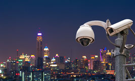 CCTV Camera. CCTV or surveillance with Blurring City in background royalty free stock photo