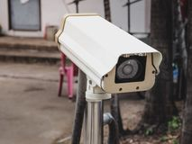 CCTV camera surveillance on car parking. With place your text Royalty Free Stock Images