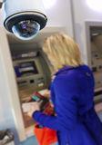 CCTV camera surveillance cash dispenser. Closeup on security CCTV camera or surveillance system in local cash dispenser Stock Image
