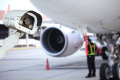 CCTV camera or surveillance operating in air port Stock Images