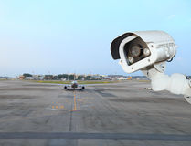 CCTV camera or surveillance operating in air port Stock Photography