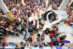 CCTV camera or surveillance operating in air port. CCTV camera or surveillance operating in air port Stock Photos