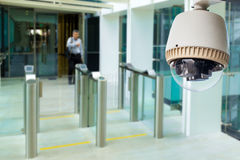 CCTV Camera. Or surveillance operating in building entrance stock photography