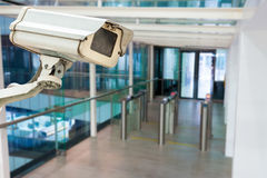 CCTV camera or surveillance operating. In building entrance Royalty Free Stock Image