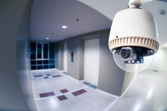 CCTV Camera or surveillance Operating in condominium with fish e Royalty Free Stock Photo