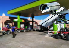 CCTV camera surveillance in service station Stock Images