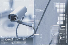 CCTV Camera or surveillance technology on screen display Stock Images