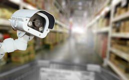 CCTV camera system security in shopping mall supermarket blur ba Stock Images