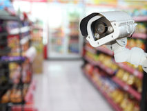 CCTV camera system security in shopping mall supermarket blur ba Royalty Free Stock Photos