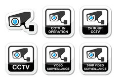 CCTV camera, Video surveillance icons set. CCTV camera warning sign black and blue lables isolated on white Stock Photography