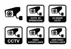 CCTV camera, Video surveillance icons set Stock Photo
