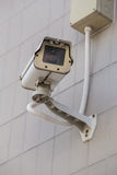 CCTV camera with the wall background Royalty Free Stock Image