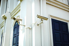 CCTV camera on the wall Royalty Free Stock Image