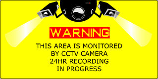 Cctv camera. Warning cctv camera in operation 24hr recording in progress concept and ilustrations Stock Photos