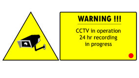 Cctv camera. Warning cctv camera in operation 24hr recording in progress concept and ilustratons Royalty Free Stock Photo