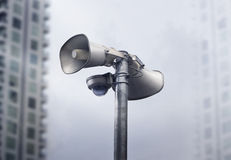 CCTV Camera and warning speaker in the city Stock Images