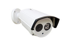 Cctv camera. White CCTV security camera on white background stock images