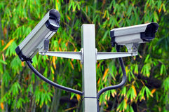 Cctv cameras. Two cctv cameras against garden background stock images