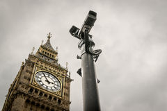CCTV Cameras and Big Ben London Landmark Royalty Free Stock Image