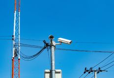 CCTV cameras installed at the corner. royalty free stock photos