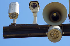 CCTV cameras and loudspeakers Royalty Free Stock Image