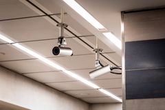CCTV cameras on a roof at a subway station. royalty free stock images