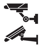 CCTV cameras. Silhouettes of CCTV cameras on white background Stock Image