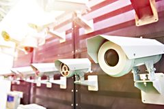 CCTV Cameras with protect. CCTV Cameras with thermo housing protect stock photo