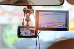 CCTV car camera with Navigator Map. royalty free stock images