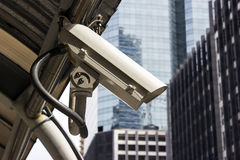 CCTV in the city. CCTV camera in the city stock images