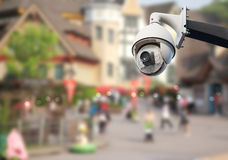 Cctv in city. Closeup image of CCTV security camera outdoor in city royalty free stock photo