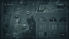CCTV City Intersection In The Evening stock video footage