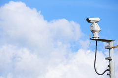 CCTV with cloudscape royalty free stock image