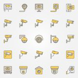 CCTV colored icons set. Vector camera creative signs Stock Image
