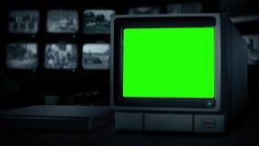 CCTV empty monitor loop - greenscreen