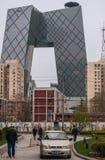 CCTV förlägger högkvarter byggnad på den tredje vägen för öst, Peking Arkivfoto