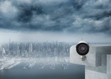 Cctv in front of the city. Digital composite of cctv in front of the city royalty free stock photos
