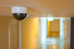 CCTV in front of rooms in condominium Stock Image