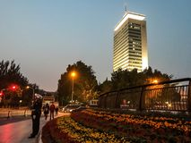 CCTV headquarter. In Beijing  national day love flowers street art dust city life beautiful stunning cool Stock Photography