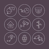 CCTV icons. Surveillance icons made in linear style vector. Thin line icon illustration of spy, security, surveillance. Security system illustration. CCTV Stock Photography