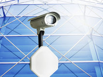 Cctv installed on the pole in outdoor security Stock Image