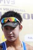 Cctv-Interview xia xinyi.16-year-old Mädchen in Tränen nachdem dem Verlieren Stockbild
