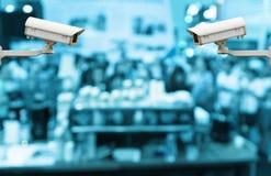 CCTV kamera bezpieczeństwa dalej monitoruje abstrakt zamazującego z prezentacją zdjęcie stock